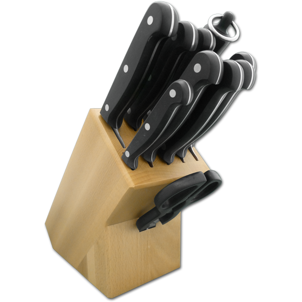 9 Piece Knife Block with Full Tang POM Technik Series Knives