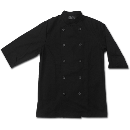 Short Sleeved Chef Jacket with Buttons, 65% Polyester/35% Cotton